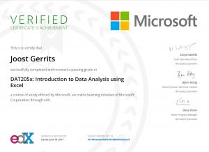 Introduction to Data Analysis using Excel certificaat Joost Gerrits